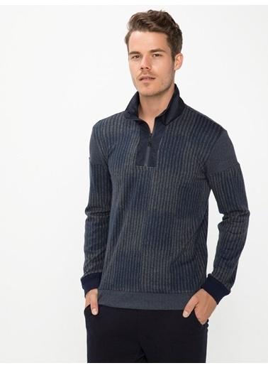 Xint Yakası Fermuarlı Sweatshirt Lacivert